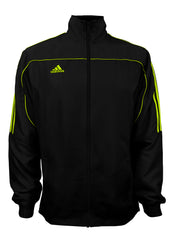 adidas Black with Neon Green Stripes Windbreaker Style Team Jacket Front View