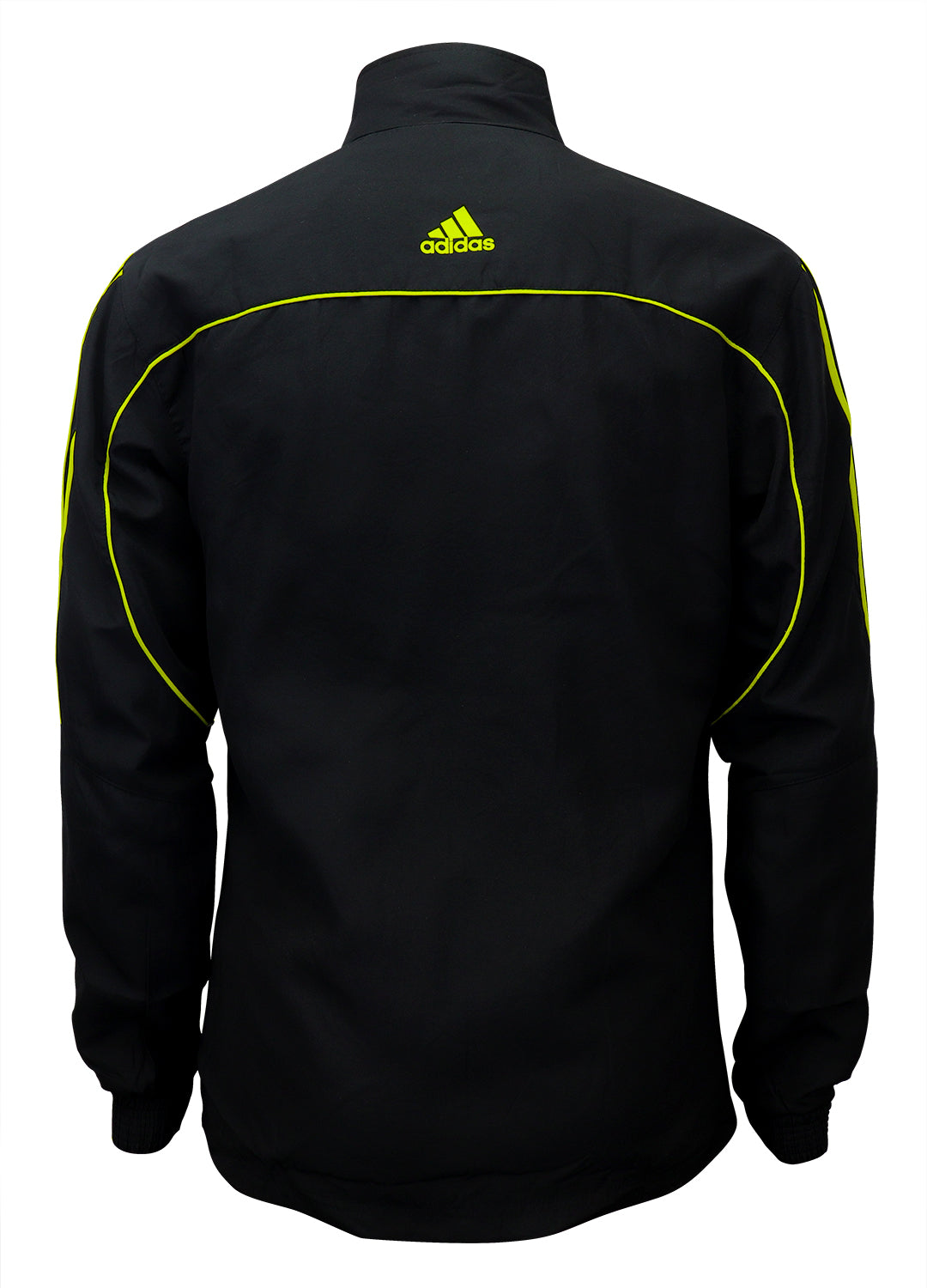 adidas Black with Neon Green Stripes Windbreaker Style Team Jacket Back View