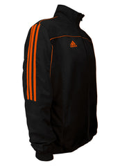 adidas Black with Neon Orange Stripes Windbreaker Style Team Jacket Side View