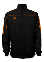 adidas Black with Neon Orange Stripes Windbreaker Style Team Jacket Front View