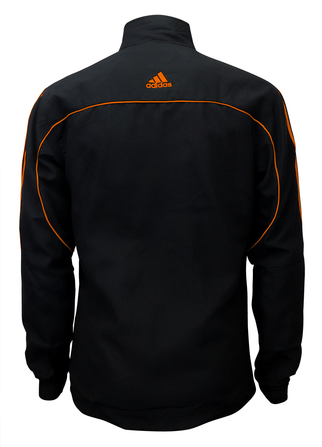 adidas Black with Neon Orange Stripes Windbreaker Style Team Jacket Back View