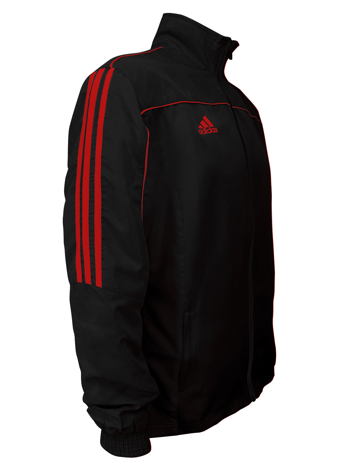 adidas Black with Red Stripes Windbreaker Style Team Jacket Side View