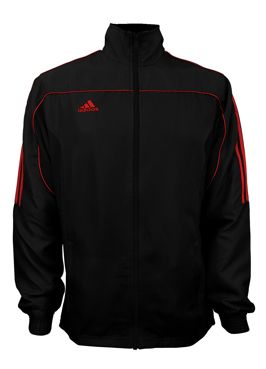 adidas Black with Red Stripes Windbreaker Style Team Jacket Front View