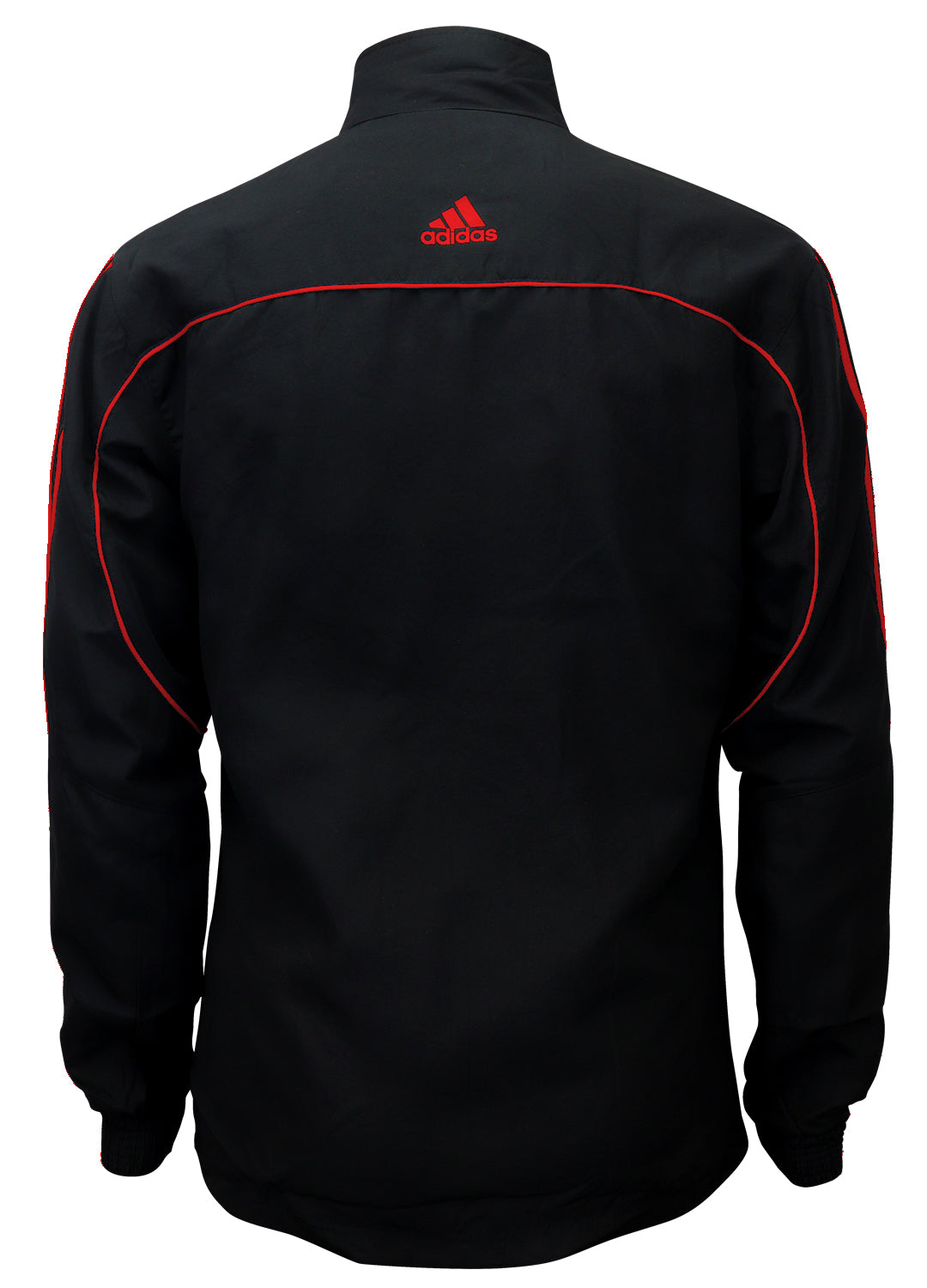 adidas Black with Red Stripes Windbreaker Style Team Jacket Back View