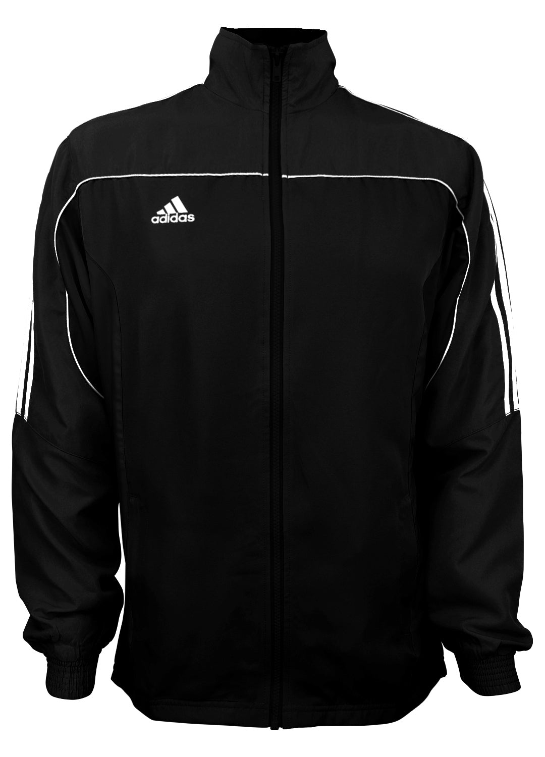 adidas Black with White Stripes Windbreaker Style Team Jacket Front View