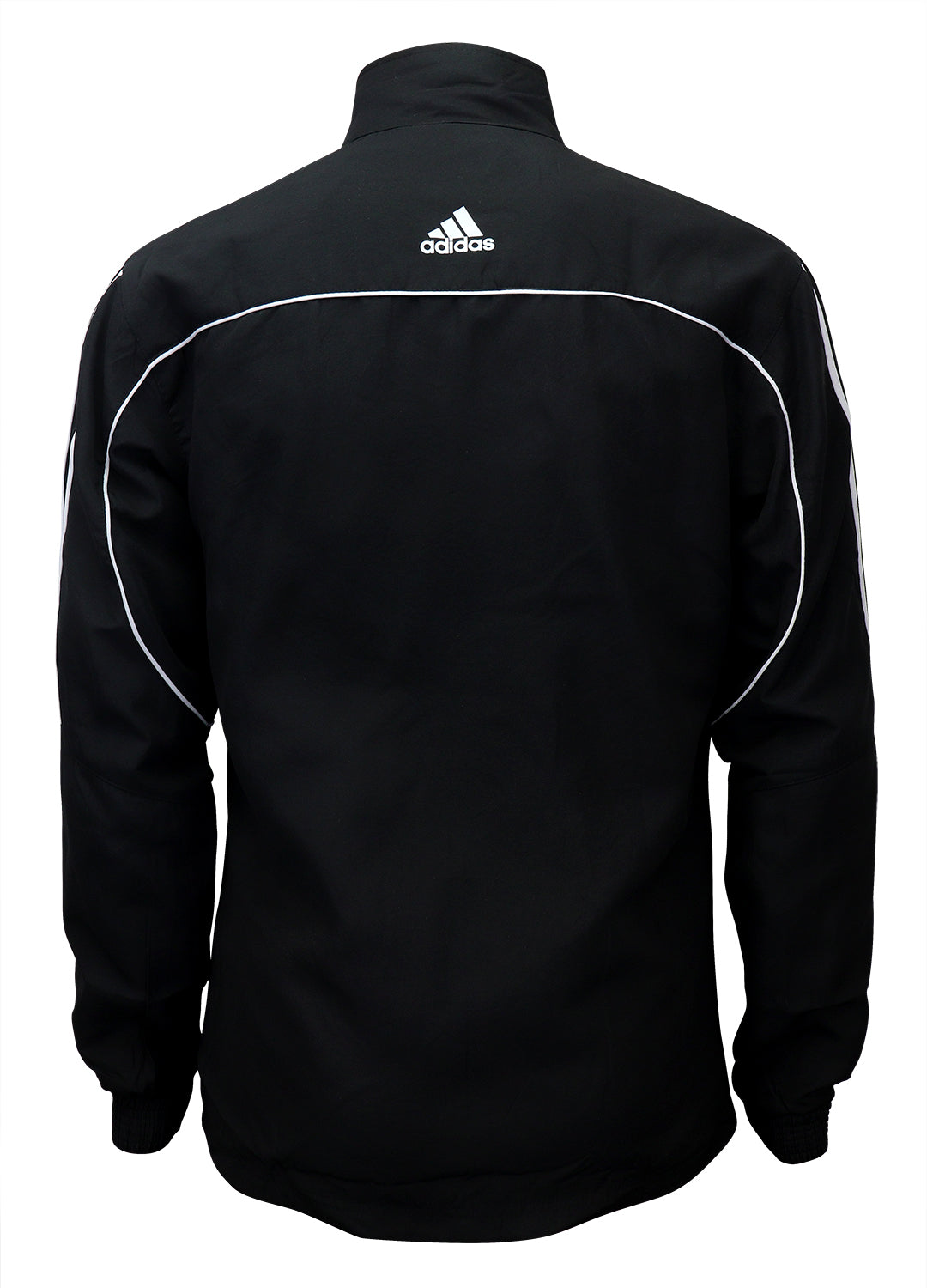 adidas Black with White Stripes Windbreaker Style Team Jacket Back View
