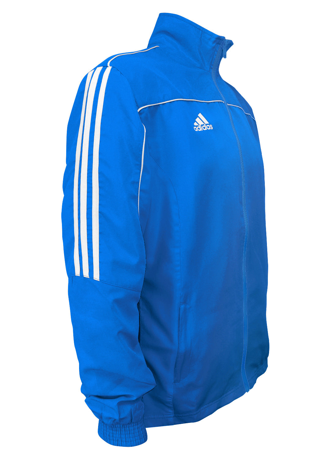 adidas Blue with White Stripes Windbreaker Style Team Jacket Side View