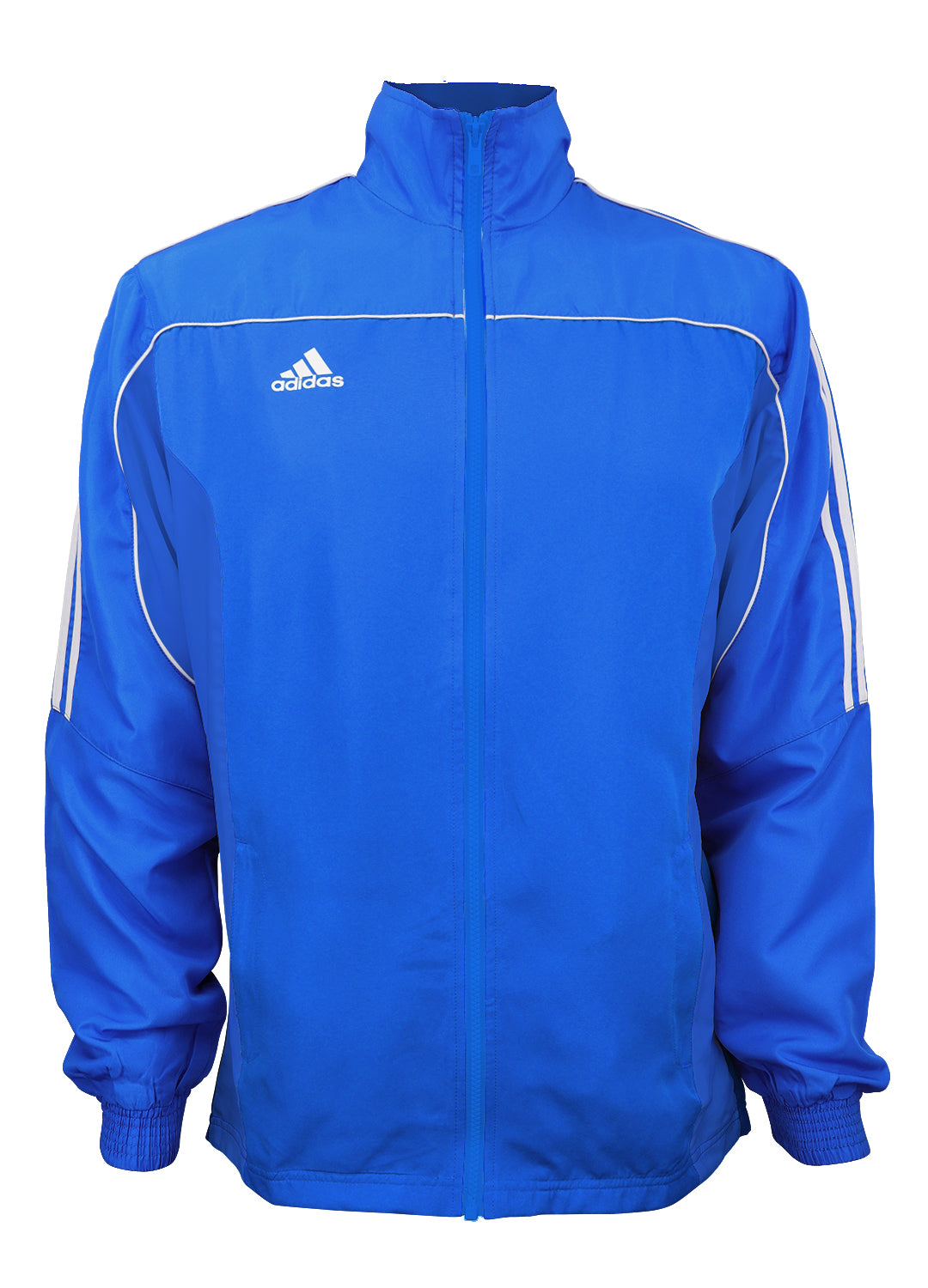 adidas Blue with White Stripes Windbreaker Style Team Jacket Front View
