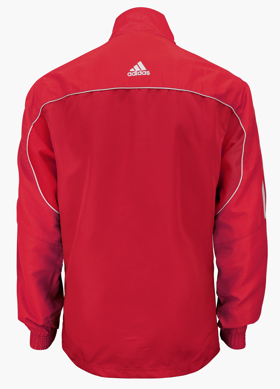 adidas Red with White Stripes Windbreaker Style Team Jacket Back View