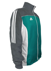 adidas Teal Grey White Windbreaker Style Team Jacket Side View