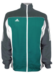 adidas Teal Grey White Windbreaker Style Team Jacket Front View