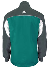 adidas Teal Grey White Windbreaker Style Team Jacket Back View