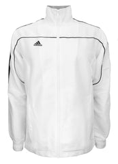adidas White with Black Stripes Windbreaker Style Team Jacket Front View