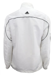 adidas White with Black Stripes Windbreaker Style Team Jacket Back View