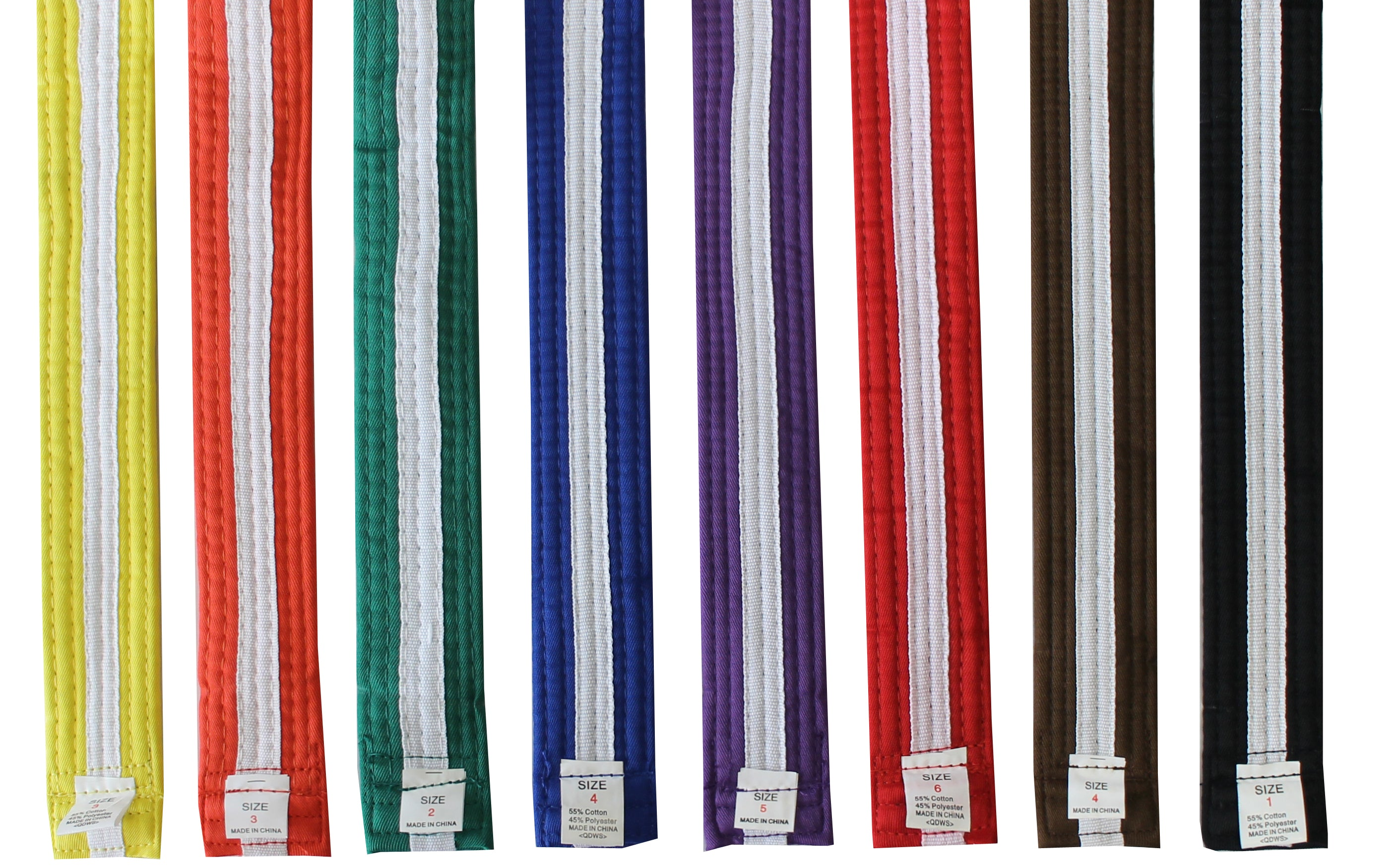Color Belt with White Stripe