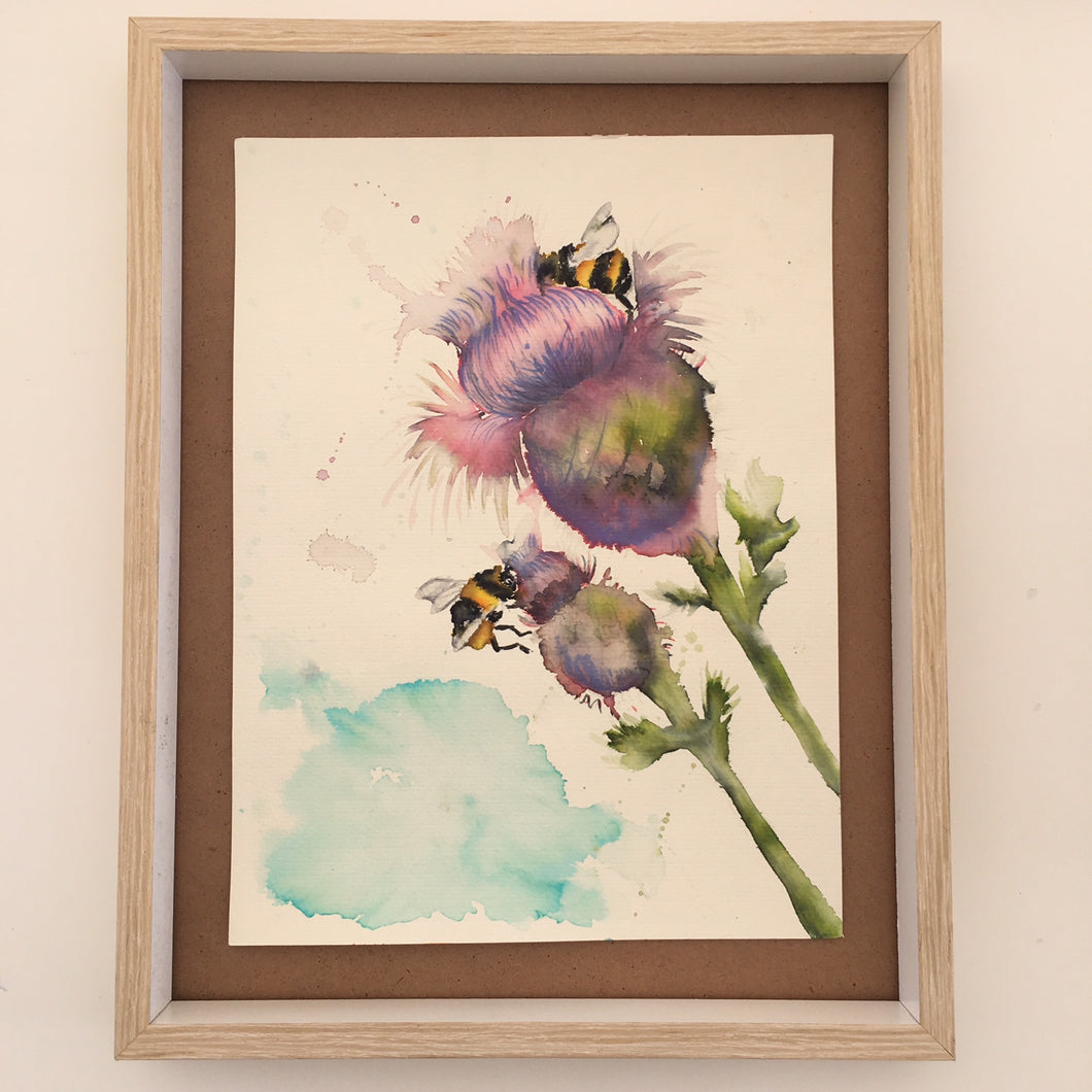Nursery - Woodland Wild Thistle & The Bees  Watercolour Original OR Print