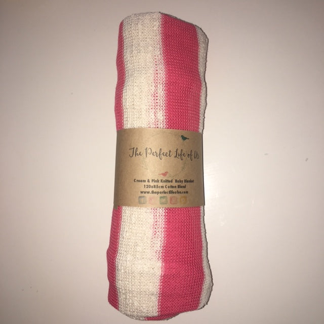 Perfect Life Of Us Pink & Cream Knitted Breathable Blanket
