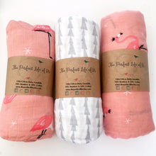 Perfect Life Of Us Flamingo Print Bamboo Swaddle