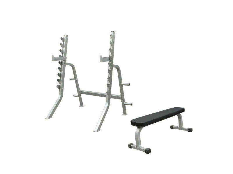 PRE-ORDER – Expected Early February | Impulse Light Commercial Squat Rack and Flat Bench