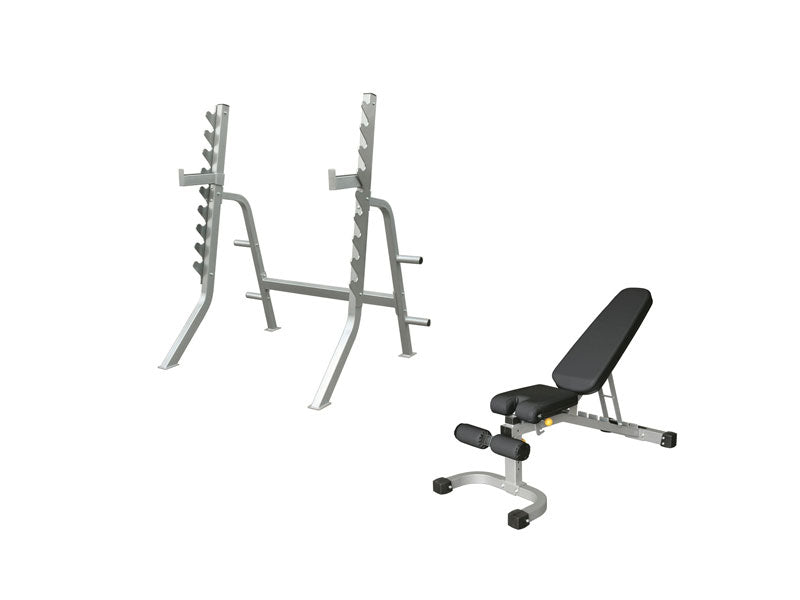 Impulse Light Commercial Squat Rack and FID Bench