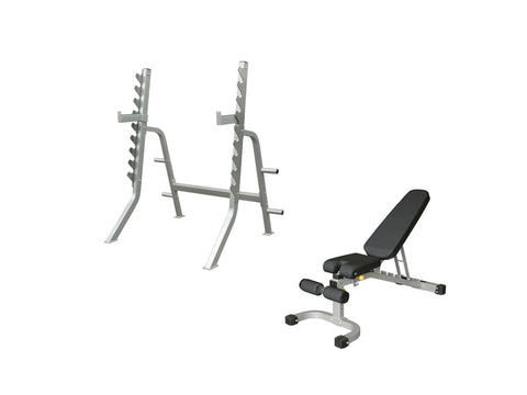 PRE-ORDER – Expected Early October | Impulse Light Commercial Squat Rack and FID Bench
