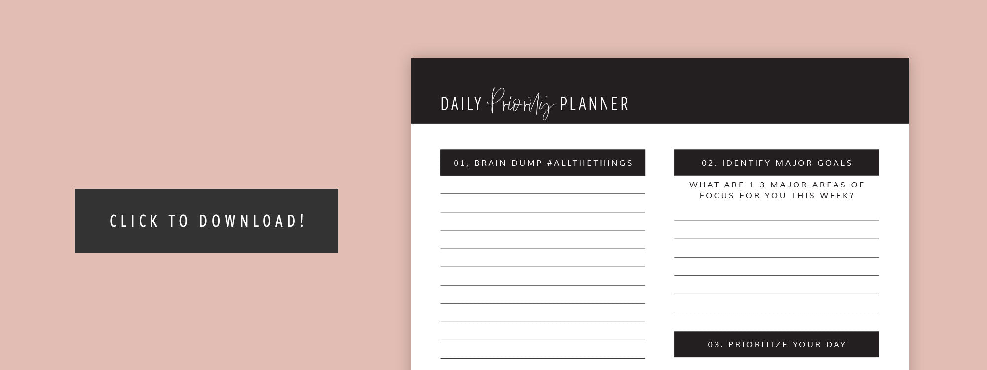 2019 Daily Priority Planner printable
