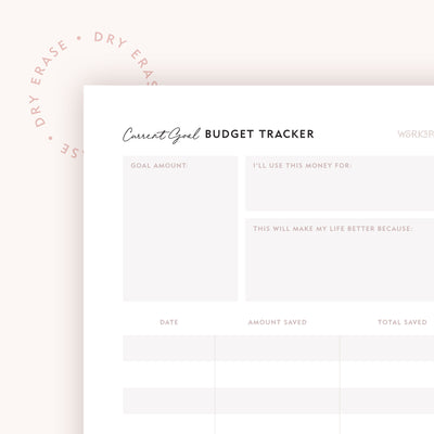 Dry Erase 8x10 Current Goal Budget Tracker