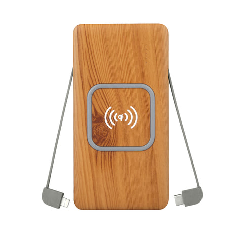 LuxeTech Wireless Power Bank Bamboo