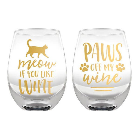Cat Lover Wine Glass Set