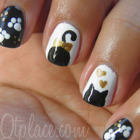 Cat Silhouette Nails - 5 Easy To Make Cat Nail Designs – Purrs And Whiskers