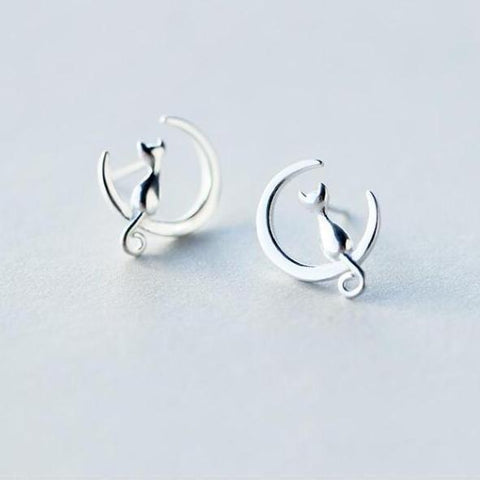 Cat And Moon Stud Earrings