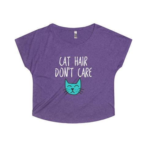 "Funny cat t-shirt in beautiful purple color featuring the print ""Cat hair don't care"" across the front."