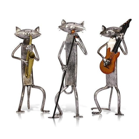 If you're looking for cat lover gifts, pick these three cat figurines featuring a cat lead singer, cat guitar player, and a cat saxophone player.