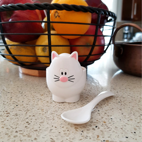 Cute Gifts for Cat Lovers, Cat Egg Cup and Spoon