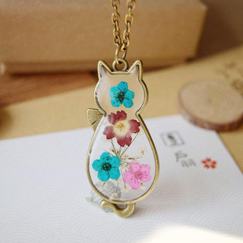 Flower Cat Shaped Necklace