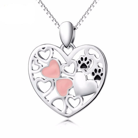 Hearts and paw prints necklace made from sterling silver and perfect for cat ladies!