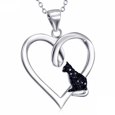 I Love Black Cats Necklace for cat lovers featuring a black crystal cat pendant and a sterling silver heart