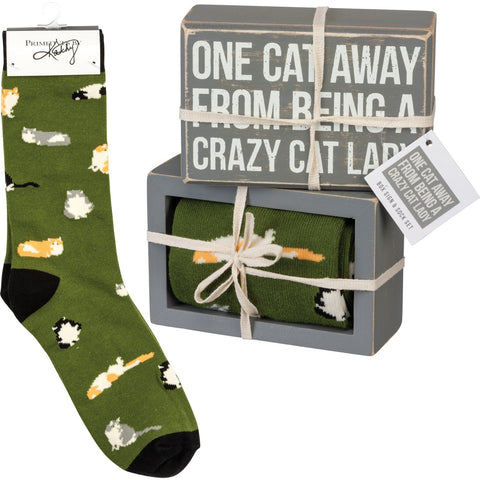 One Cat Away From Being A Crazy Cat Lady Socks And Sign Set