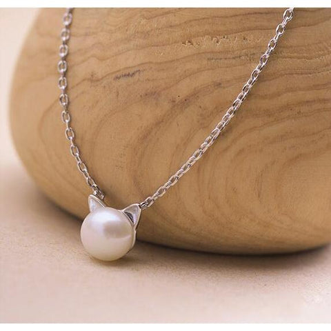 10 Cat Jewelry Pieces You Will Love, Pearl Cat Necklace