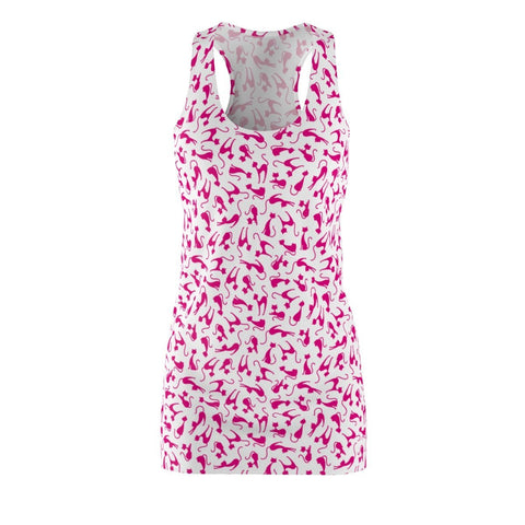 This cat dress for women features pink cat print on a white background and is the perfect summer cat inspired outfit!