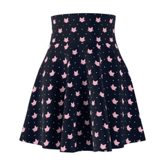 Cute cat clothes for cat ladies - a cat print skirt featuring pink cats and white polka dots on a blue background.