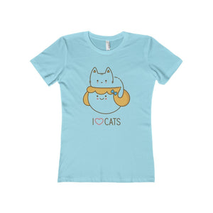 Clothes with cats on them for women, blue t-shirt with a cat on a woman's head