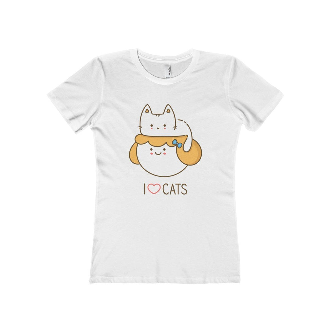 Funny cat lady t-shirt decorated with a cat resting on a woman's head