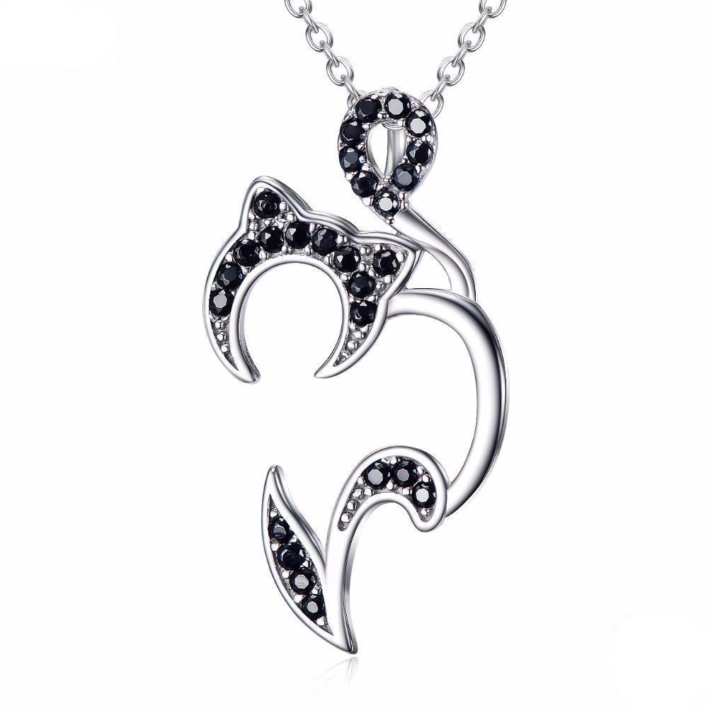 For unique black cat jewelry and gifts ideas, pick up this Abstract Cat pendant featuring a cat encrusted with shimmering black crystals.