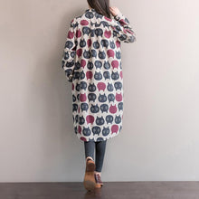 Load image into Gallery viewer, The back of this shirt covered in cats shows its relaxed fit that is very flattering.