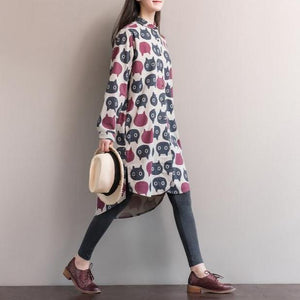 With abstract cat themed print in red and gray, this cat themed shirt dress looks great with virtually anything in your closet.