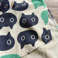 Load image into Gallery viewer, Close up of the abstract cat print in navy blue and green - the beautiful nautical hues look great with a variety of colors and many outfits.