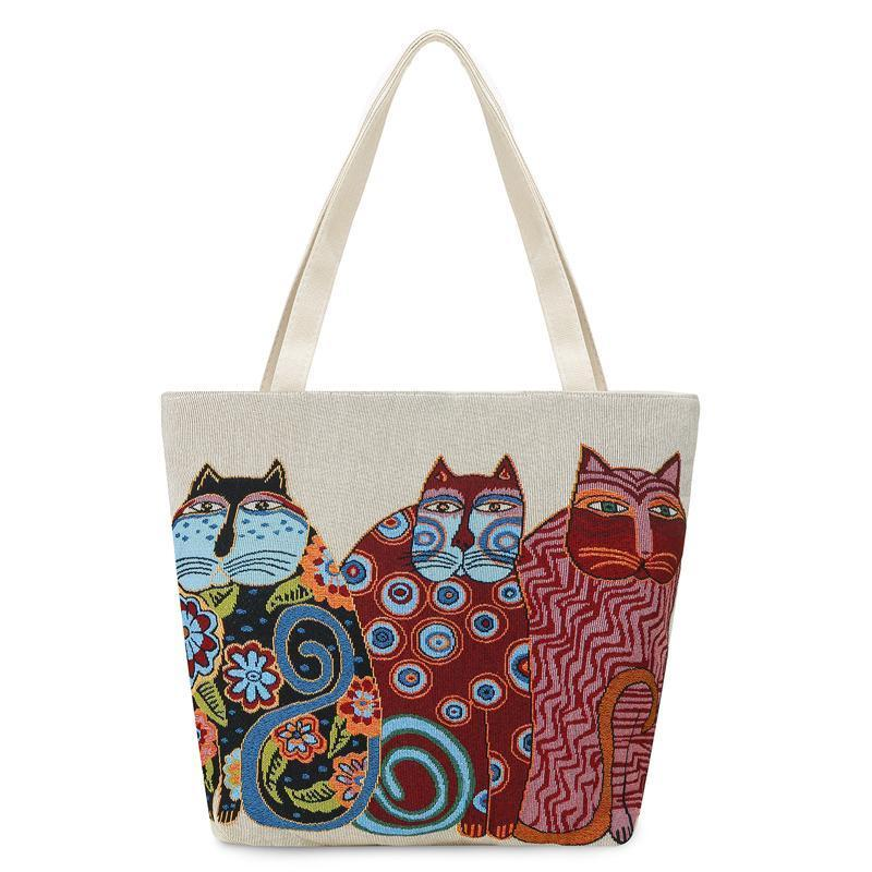 Bags with Cats On Them, Cats Tote Bag Decorated with Three Embroidered Cats