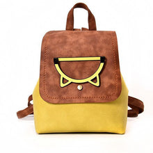 Load image into Gallery viewer, If you are looking for personal gifts for cat lovers, pick up this golden brown and yellow cat backpack decorated with a metal cat face.
