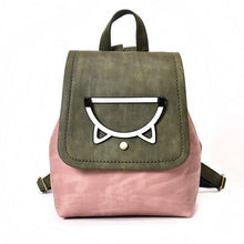 Load image into Gallery viewer, If you are looking for cute cat themed things for cat owners, pick up this faux leather green and light pink cat backpack.
